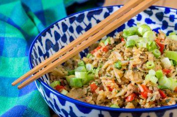 אורז מטוגן עם פרגיות וירקות