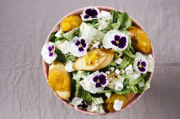 סלט עלים עם גבינה וצנימים עם ריבת משמשים