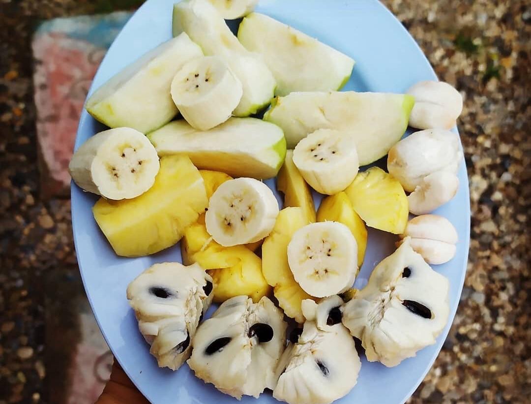 מנגוסטין, אנונה, אננס, גויאבה ובננות. המנה העיקרית שלי בתאילנד. צילום: שי אייזנר