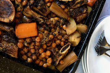 תבשיל שפונדרה וירקות שורש חורפי ומנחם