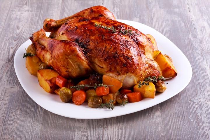 עוף בגריל עם ירקות