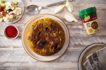 הפוכה אבל בקטע טוב: מקלובה צמחונית של אורז וירקות
