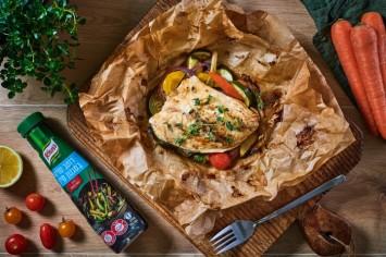דג במעטפה עם מלא ירקות - איזו הפתעה!