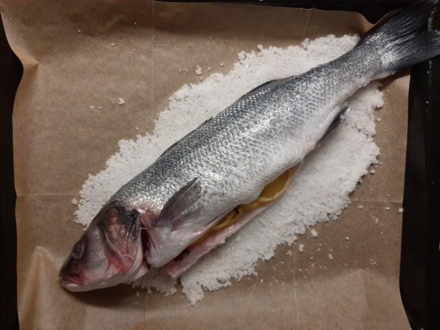 מניחים את הדג על שכבת המלח. צילום: לינוי ואלכס