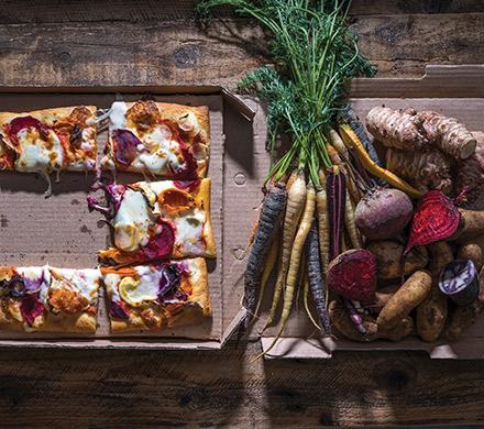 פיצה ירקות שורש. צילום: אתר טרה
