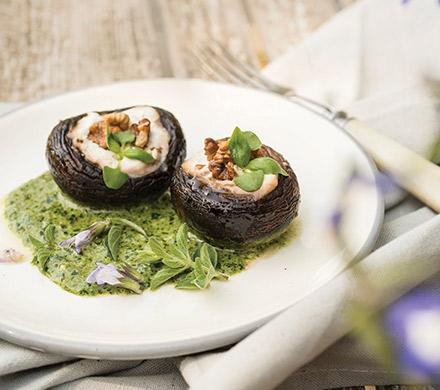 פטריות ממולאות בגבינות ברוטב שמנת-פסטו. צילום: אתר טרה
