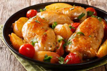 אפרסק+חזה עוף = LOVE! חזה עוף צלוי עם אפרסקים