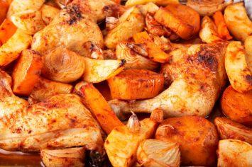 טעים ולא מתחכם: עוף עם ירקות שורש בתנור