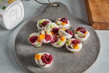 ביסים קפואים של יוגורט ופירות