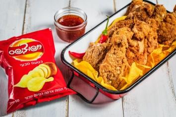 שוקיים פריכות בנוסח KFC מצופות תפוצ'יפס