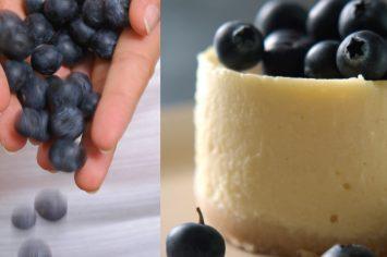 עוגת גבינה ושוקולד לבן עם אוכמניות