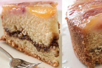 עוגת נקטרינות הפוכה עם הפתעה באמצע