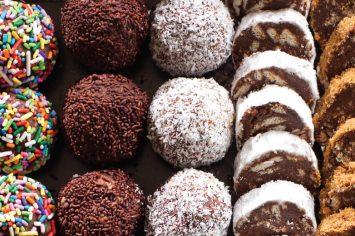 כדורי שוקולד או נקניק שוקולד עם שוקולד מריר